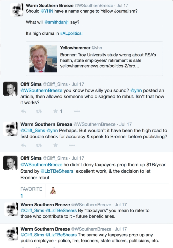 Cliff Sims, Principle and owner of Yellowhammer News, rebuts the assertion of Elizabeth Beshears' yellow jounalism.