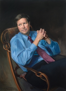John Kasich Official Congressional Portrait, 2001, by Paul Benney; Accession Number 2002.008.001; Collection of the U.S. House of Representatives; Budget Committee Chairman John Kasich is shown in a rare moment of quiet in this portrait by Paul Benney. Kasich was well-known as a whirlwind of activity during his tenure on the Budget Committee. His relaxed pose, clasped hands, and gaze directed out the frame may indicate contemplation, but this is not a placid painting. The free handling of the paint and flowing curves of the chair frame provide a sense of action in repose.