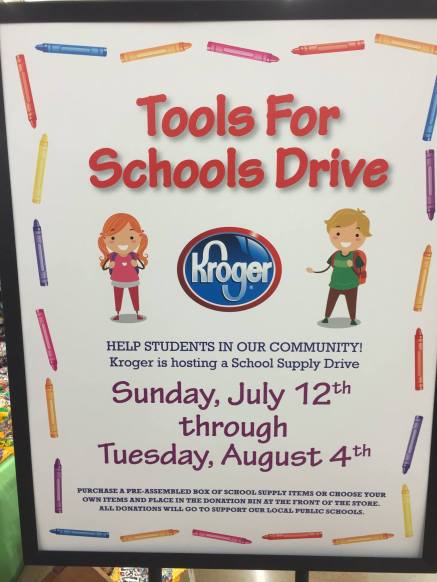 Kroger Tools for Schools Drive sign