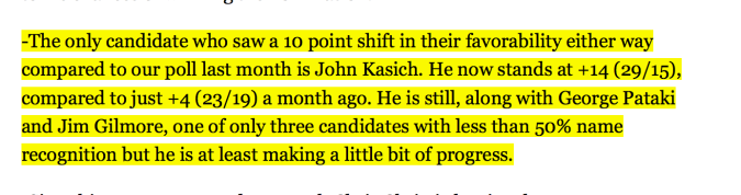 Ohio Governor John Kasich is trending upward in polling, while other GOP contenders flounder & fall.