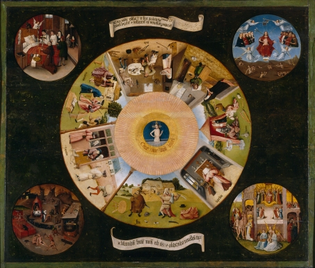 A wood panel painting c.1500 by Hieronymus Bosch depicts