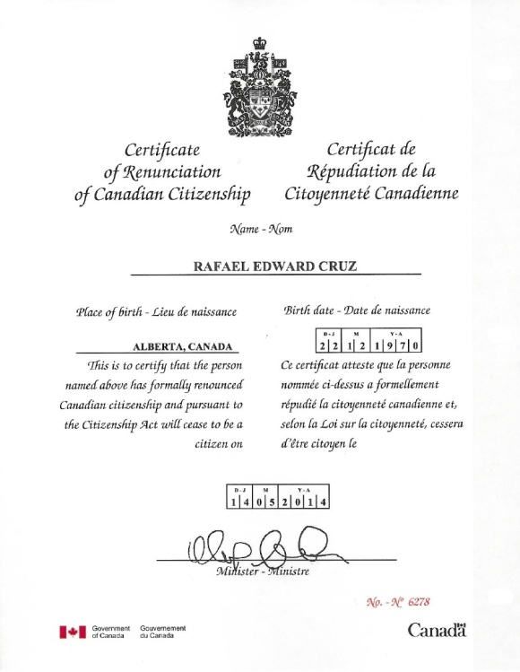Official Canadian governmental recognition of Ted Cruz's renunciation of Canadian citizenship