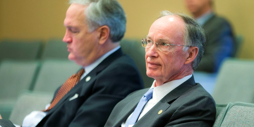 Alabama Governor Robert Bentley, right, and Attorney General Luther Strange listen to Alabama Ethics Commission Director Judge John Carroll during an ethics training session at the Capitol Auditorium in Montgomery, Alabama, Thursday, Feb. 12, 2015. (Photo: Governor's Office, Jamie Martin)