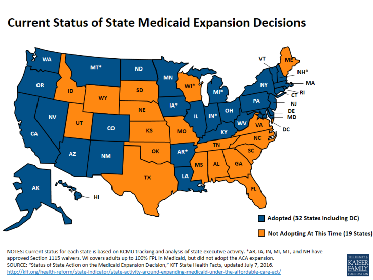 Current Condition of Medicaid Expansion Has YOUR state expanded Medicaid? Orange=NO