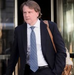 Donald F. McGahn, now White House Counsel, formerly Federal Election Commission Chairman, emerges from Trump Tower in New York City