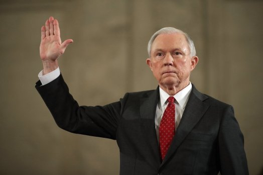 Alabama Senator Jeff Sessions takes oath before his testimony before the Senate Judiciary Committee in his Confirmation Hearing as United States Attorney General.