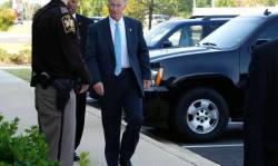 Republican Alabama Governor Robert Bentley walks to the Lee County Justice Center to testify in Alabama Speaker of the House Mike Hubbard's trial Wednesday, June 1, 2016 in Opelika, AL. Hubbard faced 23 Felony ethics charges accusing him of using his political positions to make $2.3 million in work and investments. (Todd J.Van Emst/Opelika-Auburn News)