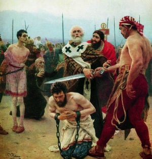 Saint Nicholas Saves Three Innocents from Death (oil painting by Ilya Repin, 1888, State Russian Museum)